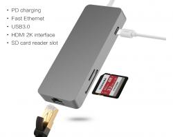Adaptador USB-C para ETHERNET/HDMI /+ 2 Entradas USB /+1 Porta USB-C/ Portas SD & Cartão MicroSD leitor